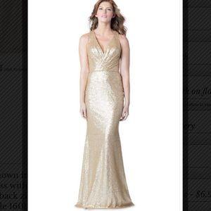 Bari Jay Style 1601 Gold sequin bridesmaid dress